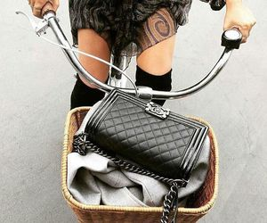 fashion, bike, and bag image