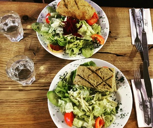 bread, salad, and water image