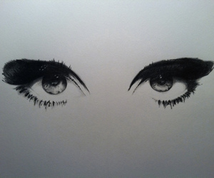 eyes, black and white, and drawing image