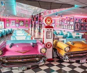 diner, car, and retro image