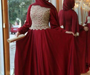 hijab, red, and dress image