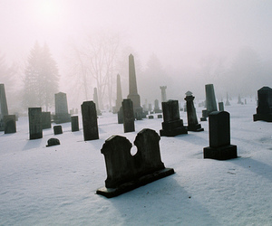 snow, winter, and cemetery image