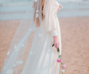 beach, beautiful, and bridal image