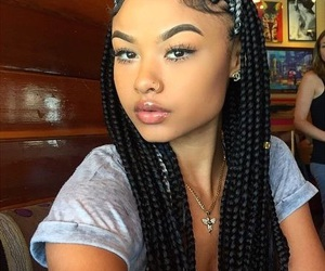 braids, hairstyle, and makeup image