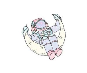 overlay, moon, and astronaut image