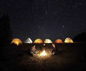 night, camping, and stars image