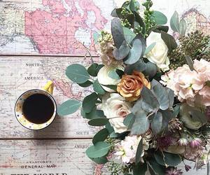 coffee, flowers, and map image