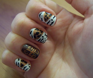 leopard print, nail art, and tribal image