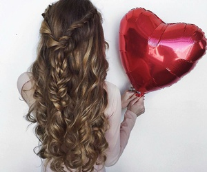 hair, balloons, and girly image