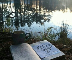 book, nature, and lake image