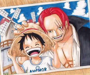 one piece, luffy, and shanks image