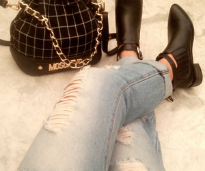 black, boyfriend jeans, and denim image