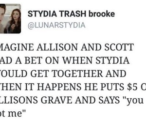 scott mccall, stydia, and allison argent image