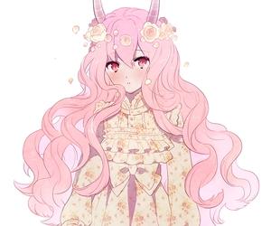 pink, demon, and girl image