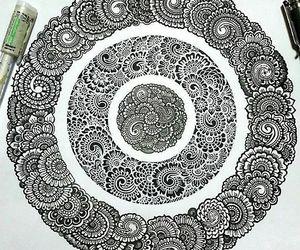 black and white and mandala image