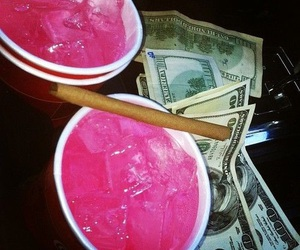 money, pink, and drink image