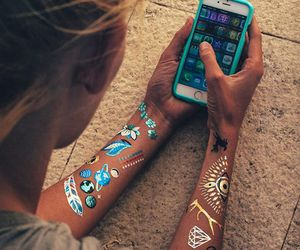 blue, henna, and brown image