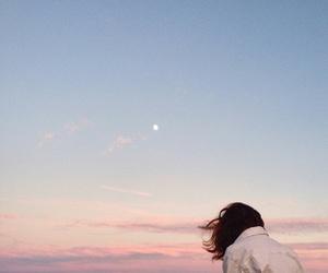 girl, sky, and moon image