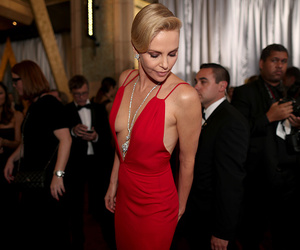 beauty, Charlize Theron, and red dress image