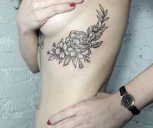 beautiful, flowers, and tatto image