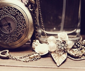 vintage, clock, and necklace image