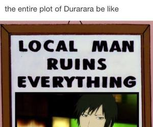 durarara, anime, and funny image