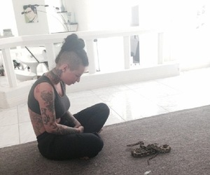 indoors, snake, and christy mack image