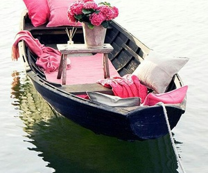 pink, flowers, and boat image