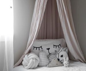 bedroom, cozy, and gray image