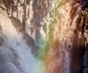 rainbow, waterfall, and water image