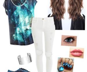 beauty, fashion, and galaxy image