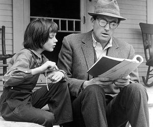 to kill a mockingbird, gregory peck, and book image
