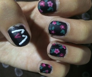 flowers, maroon5, and nails image