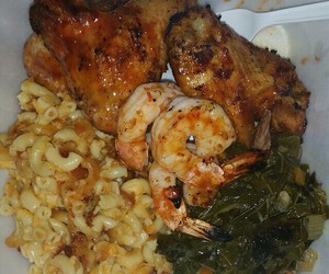 shrimp, mac and cheese, and collard greens image