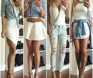 outfit, white, and skirt image
