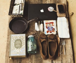 apple, shoes, and book image
