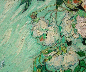 art, green, and flowers image