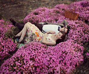 couple, flowers, and pink image