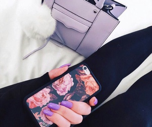 black leggings, wildflower cases, and long purple nails image