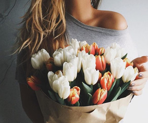flowers, girl, and tulips image