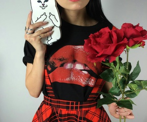 red lipstick, silver rings, and straight black hair image