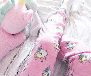 white socks, unicorn plush toy, and my little pony pajamas image