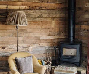 cozy, fireplace, and rustic image