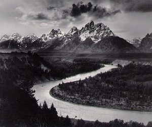 mountains, black and white, and river image