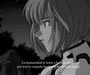 anime, black and white, and frase image