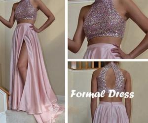 lace dress, long dress, and pink dress image