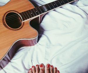bed, girl, and guitar image