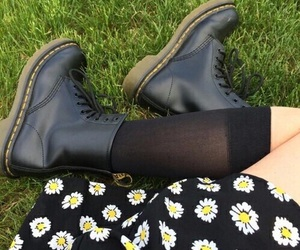 boots, grunge, and flowers image