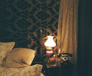 vintage, light, and bed image