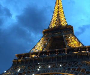 eiffel tower, light, and lumiere image
